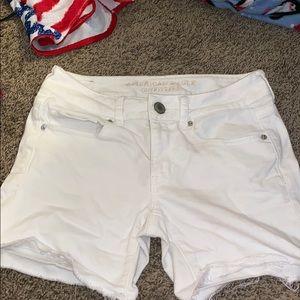 White Jean Midi Shorts